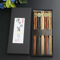 5 Pairs Japanese Reusable Chopsticks Natural Beech Chopsticks Chinese Set Wood