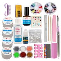 UK Acrylic Nail Kit Acrylic Powder Glitter Nail Art Manicure Tool Tips Brush Set