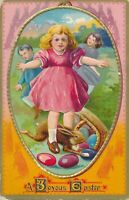 EASTER – Three Children, Running Rabbit and Spilled Eggs - 1911