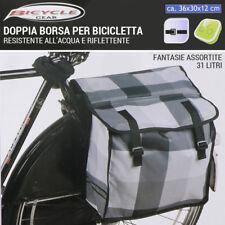 Doppia Borsa Per Bicicletta 31 LT Water Resistant Riflettente Fantasie Assortite