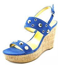 Ivanka Trump Gitty Cork Wedge Sandals Platform Suede Blue Gold 9 M