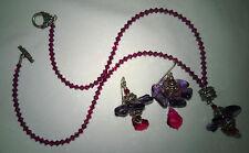 Neu Set KETTE Ohringe Anhänger Schmuck violett Geschenk 1 Mal getragen!!