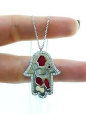 WHITE GOLD PLATE TURKISH ENAMEL Hamsa 925 STERLING SILVER  Necklace 16'' N2870