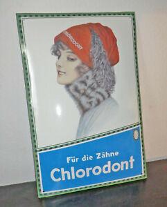 EMAILSCHILD Repro CHLORODONT FÜR DIE ZÄHNE Motiv: Dame 1920er Jahre 60cm x 40cm