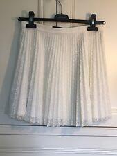 Women's Topshop Cream Lace Pleated Mini Skirt UK 10 Summer