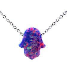 21727 Faith Hamsa Hand Australia Silver Choker Purple Real Opal Necklace Bridal
