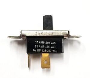 Vintage Carling SPST ON-OFF Slide Switch  15A @ 125V AC & 10A @ 250V AC ~ 1/2HP
