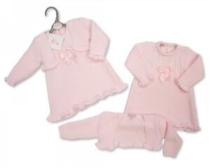 Spanish Style Baby Girls Knitted Dress and Cardigan Set Pink 0-3 & 3-6 Months