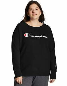 Champion Women's Sweatshirt Plus Powerblend Fleece Boyfriend Crew Script Logo