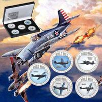 WR 5pcs Silver Coin World War ii Aircraft Battle Collectible Coin In Black Box