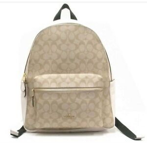 Authentic NWT $428 CHARLIE Large BACKPACK IN SIGNATURE COACH F58314
