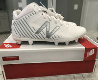 New Balance Mid-Cut RushWT Lacrosse Cleat Shoes White with Silver Men's Size 12