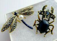 Dragonfly beetle brooch pair sapphire blue enamel rhinestone vintage style pin
