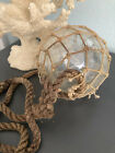 WWII Glass Fishing Float with Net and Rope Rare Large Pittsburg Corning