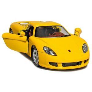 """Brand New 5"""" Kinsmart Porsche Carrera GT Diecast Model Toy 1:36 Yellow"""