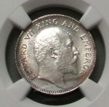 """1908 C INDIA SILVER 1/4 RUPEE EDWARD VII """"RG COLLECTION"""" NGC MINT STATE 63"""