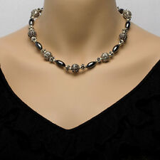 Sterling Silver & Hematite Bead Necklace With Matching Earrings