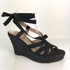 Oscar De La Renta Womens Sandal Shoes EUC 40 US 9 Black Espadrille Wedge Leather