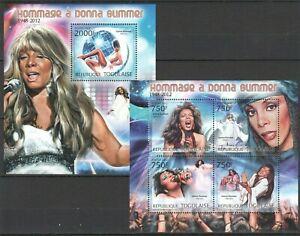 TG834 2012 TOGO SINGER MUSIC LEGEND TRIBUTE TO DONNA SUMMER BL+KB MNH