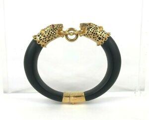 Duchess of Windsor Franklin Mint Replica Leopard Bracelet Ruby Eyes EXC