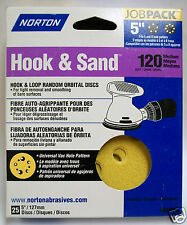 """5"""" Hook & Loop 5 or 8 Hole Sanding Discs H/L 120 Grit 25 pack Norton"""