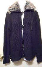 Jones New York Faux Fur Collar Cable Cardigan Sweater Black XL NWT