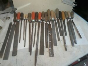 Vintage job lot 20 Carpenters Wood Rasp files flat round square to clear