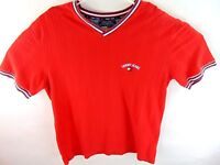 Tommy Hilfiger Jeans Vintage Mens V Neck Tee Shirt Short Sleeve Red Size XL