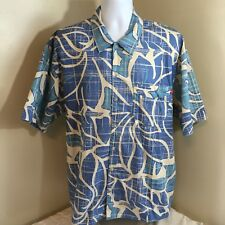 OP Ocean Pacific Short Sleeve Button Front Camp Shirt Large Blue White Abstract