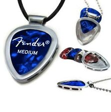 PickBay Stainless Steel Guitar Pick Holder Pendant w BLACK LEATHER ADJ CORD Set
