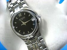 WITTNAUER SWISS 10M00 LADIES CASUAL WATCH ST STEEL BLACK DIAL DATE/ANALOG/MODERN