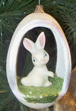REAL Goose Egg Art Easter / Spring / Summer Ornament - White bunny