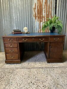 Antique Large Mahogany Pedestal Desk Drawers Cupboard Wooden Blue Leather