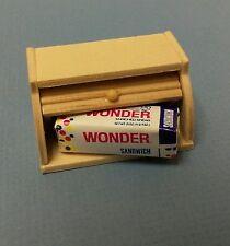 Dollhouse Miniature Kitchen wood bread box & loaf wonder bread 1:12 scale