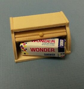 Dollhouse Miniature Wood Kitchen Bread Box with Loaf Wonder Bread 1:12 scale