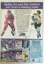BOBBY ORR AND ERIC LINDROS COLLECTOR'S CARD ADVERTISEMENT (SCORE)