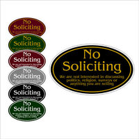 "No Soliciting Aluminum Metal Oval Sign 12"" x 7"" Choice of Colors"