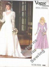 Pattern Vogue Sewing Vintage Wedding Gown Bridal Dress Sz 8 Vintage c1985 OOP NE