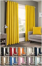 Plain Ready Made 100% Rich Cotton Eyelet Panama Curtains Pair Ringtop Unlined