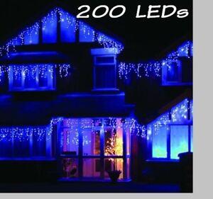 200 LEDs Lichterkette Weihnachtsbeleuchtung Eisregen für Weihnachten ** Blau **