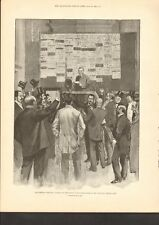 1892 ANTIQUE PRINT- ANNOUNCING THE POLLS IN NATIONAL LIBERAL CLUB BY PHIL MAY