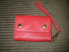 BADLY MISCHKA RED SAFFIANO LEATHER DOUBLE SNAP IPHONE WRISTLET CLUTCH CASE