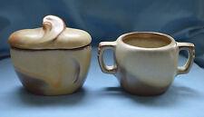 Frankoma Sugar Bowl and Cindimenmt Bowl Desert Gold Art Deco Dinnerware Pottery