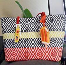 INC International Concepts Reyna Large Tote Orange/Yellow Stripe MSRP $99.50