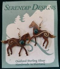 Sterling Silver Horse Earrings with gemstones