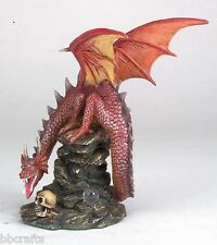 New In Box Alabastrite Flaming Orange Dragon On Rock Statue Collectible #10