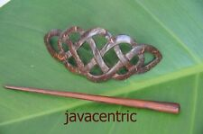Carved Coconut Shell CELTIC style HAIR PIN BARRETTE SLIDE CLASP CLIP handmade