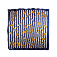 Vintage COMME CA ISM 100% silk scarf blue & white with nautical theme P74241