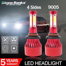 2x 4-Sides 9005 HB3 H10 LED Headlight High Low Beam 6000K White Bulbs 16000LM