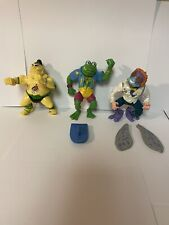 TMNT Vintage Figure Lot Of 3 Playmates Figures & 2 accessories.